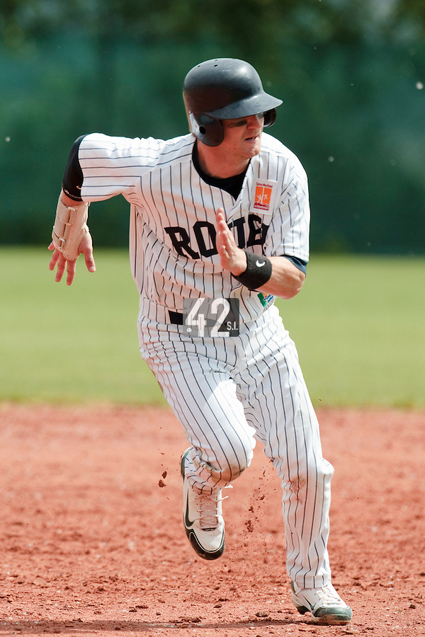 04 June 2010: Aaron Hornostaj of Rouen runs the bases during the 2010 Baseball European Cup match won  20-7 by Heidenheim Heidekopfe over the Rouen Huskies, at the Kravi Hora ballpark, in Brno, Czech Republic.
