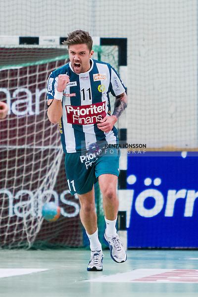 Stockholm 2013-12-08 Handboll Elitserien Hammarby - IFK Sk&ouml;vde :  <br /> Hammarby 11 Martin Dolk jublar efter ett av sina m&aring;l<br /> (Foto: Kenta J&ouml;nsson) Nyckelord:  jubel gl&auml;dje lycka glad happy portr&auml;tt portrait