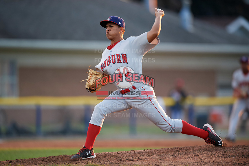 Auburn Doubledays relief pitcher Gilberto Chu (10) delivers a pitch during a game against the Batavia Muckdogs on June 19, 2017 at Dwyer Stadium in Batavia, New York.  Batavia defeated Auburn 8-2 in both teams opening game of the season.  (Mike Janes/Four Seam Images)