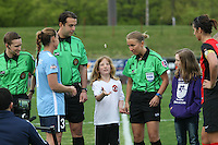 Piscataway, NJ, May 7, 2016.  Team captains Christie Rampone (3) of Sky Blue and Abby Erceg (6) of the Western New York Flash and the match officials during the coin toss  prior to the game between Sky Blue FC and the Western New York Flash.  The Western New York Flash defeated Sky Blue FC, 2-1, in a National Women's Soccer League (NWSL) match at Yurcak Field.
