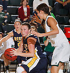 JANUARY 30, 2015 -- Erica Von Stein #15 of Regis University gets defensive pressure from Chelsey Beigler #22 of Black Hills State during their Rocky Mountain Athletic Conference women's basketball game Friday evening at the Donald E. Young Center in Spearfish, S.D.  (Photo by Dick Carlson/Inertia)