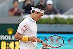 Japanese tennis player Kei Nishikori celebration during Madrid Open Tennis 2014 singles final match. May 11, 2014. (ALTERPHOTOS/Victor Blanco)