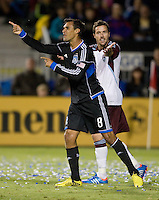 Chris Wondolowski of Earthquakes reacts about a bad call during the game against Rapids at Buck Shaw Stadium in Santa Clara, California on August 25th, 2012.   San Jose Earthquakes defeated Colorado Rapids, 4-1.