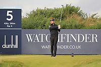 Tyrrell Hatton (ENG) on the 5th tee during Round 2 of the Alfred Dunhill Links Championship 2019 at Kingbarns Golf CLub, Fife, Scotland. 27/09/2019.<br /> Picture Thos Caffrey / Golffile.ie<br /> <br /> All photo usage must carry mandatory copyright credit (© Golffile | Thos Caffrey)