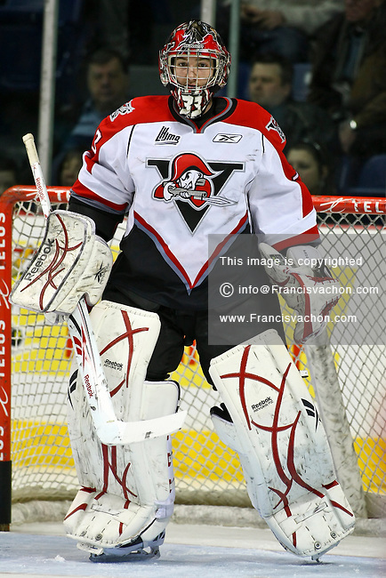 QMJHL (LHJMQ) hockey profile photo on Drummondville Voltigeurs Guillaume Nadeau February 15, 2011 at the Colisee Pepsi in Quebec city.