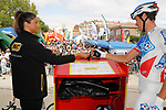 Sign on before the start of Stage 17 of the 2017 La Vuelta, running 180.5km from Villadiego to Los Machucos. Monumento Vaca Pasiega, Spain. 6th September 2017.<br /> Picture: Unipublic/&copy;photogomezsport   Cyclefile<br /> <br /> <br /> All photos usage must carry mandatory copyright credit (&copy; Cyclefile   Unipublic/&copy;photogomezsport)