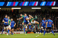 Sébastien Tillous-Borde of France takes the high ball from Rob Kearney and Dave Kearney of Ireland during Match 39 of the Rugby World Cup 2015 between France and Ireland - 11/10/2015 - Millennium Stadium, Cardiff <br /> Mandatory Credit: Rob Munro/Stewart Communications