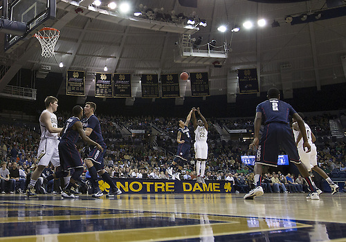 January 12, 2013:  A general view as Notre Dame guard Jerian Grant (22) goes up for a shot during NCAA Basketball game action between the Notre Dame Fighting Irish and the Connecticut Huskies at Purcell Pavilion at the Joyce Center in South Bend, Indiana.  Connecticut defeated Notre Dame 65-58.