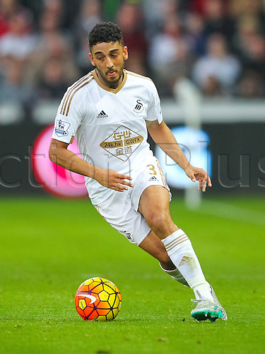 31.10.2015. Liberty Stadium, Swansea, Wales. Barclays Premier League. Swansea versus Arsenal. Swansea City's Neil Taylor during the game