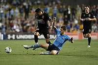 1st November 2019; Leichhardt Oval, Sydney, New South Wales, Australia; A League Football, Sydney Football Club versus Newcastle Jets; Dimitri Petratos of Newcastle Jets is tackled by Brandon O'Neill of Sydney - Editorial Use