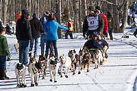 Wade Marrs and team run past spectators on the bike/ski trail during the Anchorage ceremonial start during the 2014 Iditarod race.<br /> Photo by Britt Coon/IditarodPhotos.com