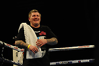 A jubilant Ricky Hatton after Mark Hepper wins via stoppage during a Boxing Show at the Metro Radio Arena on 11th November 2017