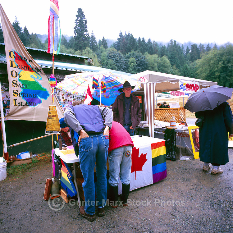 The Gays and Lesbians Display Booth at the Ganges Fall Fair, on Saltspring Island, in the Southern Gulf Islands of British Columbia, Canada