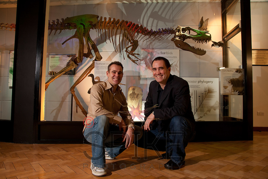 Vertigo Creative's John Moseley and Rod Thomas with 'Jane' the Tyrannosaurus rex exhibit they put together at Leicester University's Department of Geology. http://www.vertigo-creative.com