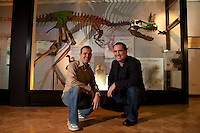 Vertigo Creative's John Moseley and Rod Thomas with 'Jane' the Tyrannosaurus rex exhibit they put together at Leicester University's Department of Geology. http://www.vertigo-creative.com