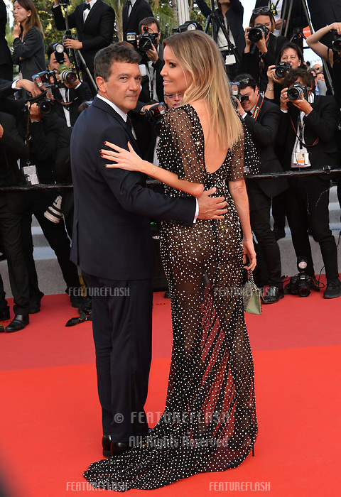 CANNES, FRANCE. May 25, 2019: Antonio Bandera & Nicole Kimpel at the Closing Gala premiere of the 72nd Festival de Cannes.<br /> Picture: Paul Smith / Featureflash