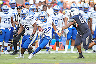Washington, DC - September 16, 2016: Hampton Pirates running back Yahkee Johnson (22) in action during game between Hampton and Howard at  RFK Stadium in Washington, DC. September 16, 2016.  (Photo by Elliott Brown/Media Images International)