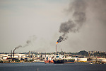 HAVANA, CUBA -- MARCH 23, 2015:  A view of the Ñico Lopez oil refinery in Havana, Cuba on March 23, 2015. Photograph by Michael Nagle