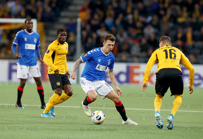 03.10.2019 Young Boys of Bern v Rangers: Ryan Jack takes on Jean Pierre Nsame
