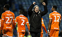 Blackpool's manager Terry McPhillips celebrates a 1-0 victory over Portsmouth<br /> <br /> Photographer Andrew Kearns/CameraSport<br /> <br /> The EFL Sky Bet League One - Portsmouth v Blackpool - Saturday 12th January 2019 - Fratton Park - Portsmouth<br /> <br /> World Copyright &copy; 2019 CameraSport. All rights reserved. 43 Linden Ave. Countesthorpe. Leicester. England. LE8 5PG - Tel: +44 (0) 116 277 4147 - admin@camerasport.com - www.camerasport.com