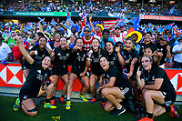 The Black Ferns celebrate winning the Fast Four women's final on day two of the 2019 HSBC World Sevens Series Hamilton at FMG Stadium in Hamilton, New Zealand on Sunday, 27 January 2019. Photo: Dave Lintott / lintottphoto.co.nz