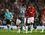 Eric Bailly of Manchester United and Facundo Roncaglia of Celta Vigo square up to each other during the Europa League Semi Final 2nd Leg match at Old Trafford Stadium, Manchester. Picture date: May 11th 2017. Pic credit should read: Simon Bellis/Sportimage