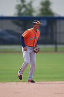 Houston Astros shortstop Deury Carrasco (8) during a Minor League Spring Training Intrasquad game on March 28, 2019 at the FITTEAM Ballpark of the Palm Beaches in West Palm Beach, Florida.  (Mike Janes/Four Seam Images)