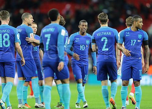 29.03.2016. Wembley Stadium, London, England.  International Football Friendly England versus Netherlands. Netherlands Midfielder Georginio Wijnaldum and his team celebrate their win at full time