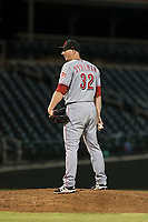 Scottsdale Scorpions relief pitcher Wyatt Strahan (32), of the Cincinnati Reds organization, looks in for the sign during an Arizona Fall League game against the Mesa Solar Sox at Sloan Park on October 10, 2018 in Mesa, Arizona. Scottsdale defeated Mesa 10-3. (Zachary Lucy/Four Seam Images)