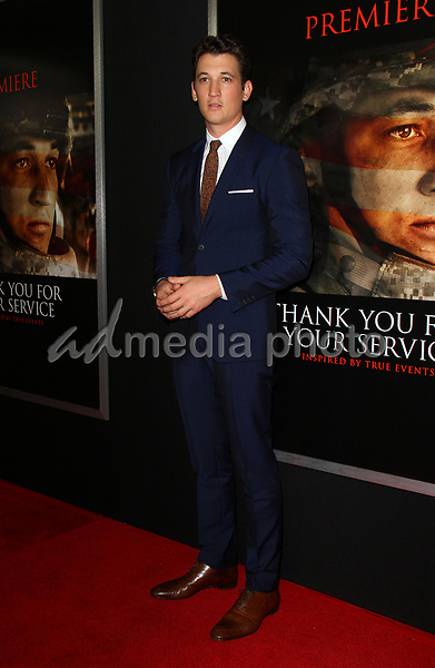 "23 October 2017 - Los Angeles, California - Miles Teller. ""Thank You For Your Service"" Premiere held at the Regal L.A. Live Theatre in Los Angeles. Photo Credit: AdMedia"