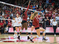 STANFORD, CA - September 9, 2018: Tami Alade, Meghan McClure, Audriana Fitzmorris at Maples Pavilion. The Stanford Cardinal defeated #1 ranked Minnesota 3-1 in the Big Ten / PAC-12 Challenge.