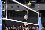 A member of Japan's national volleyball team gives a demonstration during the Grand Opening Ceremony of Ariake Arena on February 2, 2020, Tokyo, Japan. The new sporting and cultural centre will host the volleyball and wheelchair basketball competitions during the Tokyo 2020 Olympic Games. (Photo by Rodrigo Reyes Marin/AFLO)