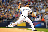 Milwaukee Brewers pitcher Wily Peralta #60 during a game against the Los Angeles Dodgers at Miller Park on May 22, 2013 in Milwaukee, Wisconsin.  Los Angeles defeated Milwaukee 9-2.  (Mike Janes/Four Seam Images)