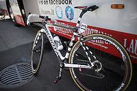 Marco Bandiera's  (ITA/Androni Giocattoli-Sidermec) zebra themed #13 bike<br /> <br /> Giro d'Italia 2015<br /> stage 18: Melide (SUI) - Verbania (170km)