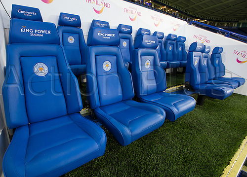 01.03.2016. King Power Stadium, Leicester, England. Barclays Premier League. Leicester versus West Bromwich Albion. The team seats in the pitch side dug out displaying the King Power logo and Leicester City Football Club emblem.