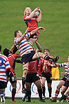 Jamie Chipman goes high to claim the ball from a kick-off. Air New Zealand Air NZ Cup warm-up rugby game between the Counties Manukau Steelers & Tasman Mako's, played at Growers Stadium Pukekohe on Sunday July 20th 2008..Counties Manukau won the match 30 - 7.