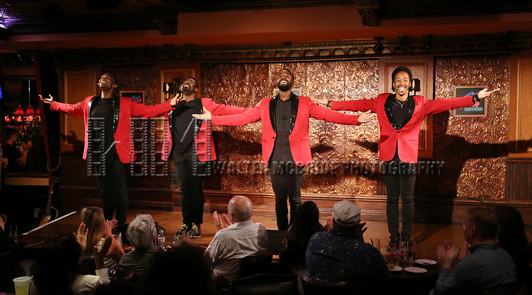 John Edwards,  Kyle Taylor Parker, Jelani Remy and Dwayne Cooper during the Press Preview Presentation for the new production of 'Smokey Joe's Cafe' at Feinstein's/54 Below on June 27, 2018 in New York City.