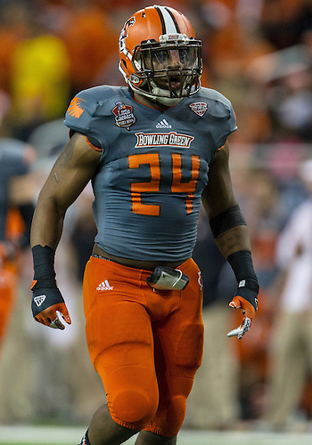 """December 26, 2013:  Bowling Green defensive back Jerry """"BooBoo"""" Gates (24) during NCAA Football game action between the Pittsburgh Panthers and the Bowling Green Falcons at Ford Field in Detroit, Michigan.  Pittsburgh defeated Bowling Green 30-27."""