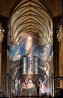 BNPS.co.uk (01202 558833)<br /> Pic: ZacharyCulpin/BNPS<br /> <br /> Pictured: Photographer Ash Mills  admire the nativity.<br /> <br /> One of the UK's most historic cathedrals today unveiled a 40ft Renaissance-style photographic tableau as its nativity - with its very own clergy, volunteers and staff starring as figures from the Christian scene.<br /> <br /> Salisbury Cathedral's spectacular nativity features its stonemason as Joseph, a bookings agent as Mary, a retired postman as a shepherd, a Canon and guides as Wise Men - and the son of an ex-England rugby player as baby Jesus.<br /> <br /> The Wiltshire cathedral wanted to put a modern twist on the traditional Christmas scene and cast people as Nativity characters before holding a series of individual and group photoshoots.