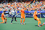 The Hague, Netherlands, June 13: Mink van der Weerden #30 of The Netherlands celebrates after scoring a penalty corner for the leading goal (1-0) during the field hockey semi-final match (Men) between The Netherlands and England on June 13, 2014 during the World Cup 2014 at Kyocera Stadium in The Hague, Netherlands. Final score 1-0 (1-0)  (Photo by Dirk Markgraf / www.265-images.com) *** Local caption *** Robbert Kemperman #12 of The Netherlands, Mark Gleghorne #14 of England, Mink van der Weerden #30 of The Netherlands, Billy Bakker #8 of The Netherlands