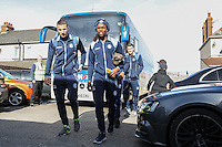 Marcus Bean & Nick Freeman of Wycombe Wanderers arrive for  the Sky Bet League 2 match between Grimsby Town and Wycombe Wanderers at Blundell Park, Cleethorpes, England on 4 March 2017. Photo by Andy Rowland / PRiME Media Images.