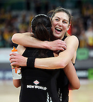 16.09.2012 Silver Ferns Irene Van Dyk and Maria Tutaia in action during the first netball test match between the Silver Ferns and the Australian Diamonds played at the Hisense Arena In Melbourne. Mandatory Photo Credit ©Michael Bradley.