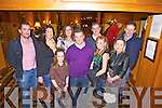 Patrick O'Kelly(centre) from The Silver Dollar, Newcastle West enjoying his 40th birthday celebrations last Saturday night in The Devon Inn, Templeglantine, l-r: John Enright, Lisa Dunworth, Geri Mae  Maria,Patrick and Caoibha O'Kelly, and Seamus, Miriam and Tadhg Shanahan.