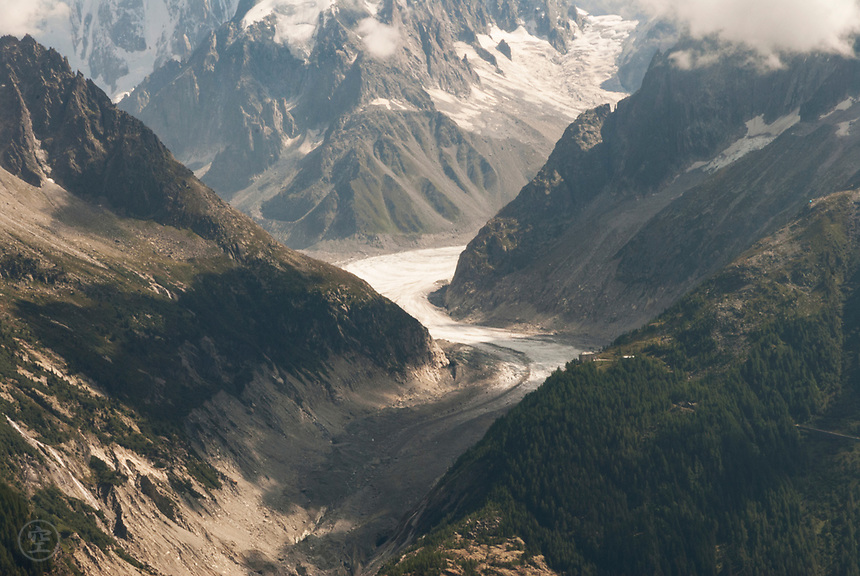 The Mer du Glace glacier seen from across the valley in September 2007.