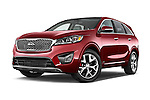 Stock pictures of low aggressive front three quarter view of a 2016 KIA Sorento SX AT 5 Door SUV Low Aggressive