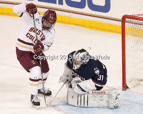 Destry Straight (BC - 17), Rob Nichols (UConn - 31) - The Boston College Eagles defeated the visiting University of Connecticut Huskies 3-2 on Saturday, January 24, 2015, at Kelley Rink in Conte Forum in Chestnut Hill, Massachusetts.