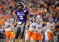 Jan. 4, 2010; Glendale, AZ, USA; TCU Horned Frogs wide receiver (2) Curtis Clay celebrates his second quarter touchdown against the Boise State Broncos in the 2010 Fiesta Bowl at University of Phoenix Stadium. Mandatory Credit: Mark J. Rebilas-