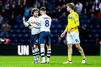 Preston North End's Alan Browne calms the temper of Ben Pearson<br /> <br /> Photographer Alex Dodd/CameraSport<br /> <br /> The EFL Sky Bet Championship - Preston North End v Leeds United -Tuesday 9th April 2019 - Deepdale Stadium - Preston<br /> <br /> World Copyright &copy; 2019 CameraSport. All rights reserved. 43 Linden Ave. Countesthorpe. Leicester. England. LE8 5PG - Tel: +44 (0) 116 277 4147 - admin@camerasport.com - www.camerasport.com