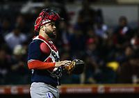 Fernando Flores catcher de los mayos, durante el juego de beisbol de la Liga Mexicana del Pacifico temporada 2017 2018. Cuarto juego de la serie de playoffs entre Mayos de Navojoa vs Naranjeros. 05Enero2018. (Foto: Luis Gutierrez /NortePhoto.com)