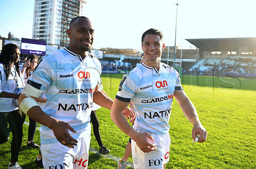 10.04.2016. Paris, France. European Champions Rugby Quarterfinal. Racing Metro 92 versus RC Toulon.  Dan Carter (rac) and Joe Rokocoko (rac)